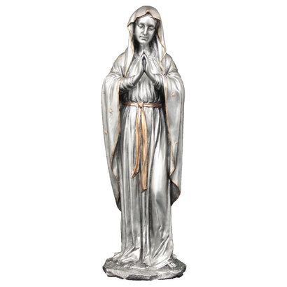 "Praying Virgin, Pewter Style Veronese 11.75"" Statue"