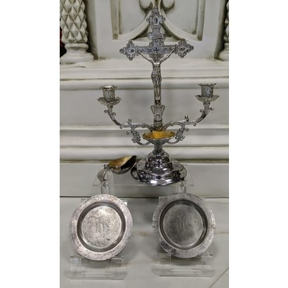 Antique Set, Crucifix Candelabrum with Holy Water Font, Aspersorium, Aspergilium, 2 Patens
