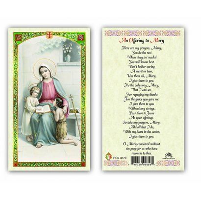 An Offering to Mary Holy Card