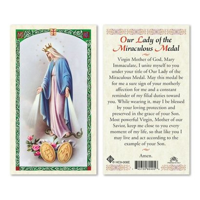 Our Lady of Grace, Miraculous Medal Holy Card