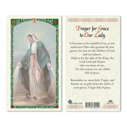 Our Lady of Grace, Prayer Holy Card