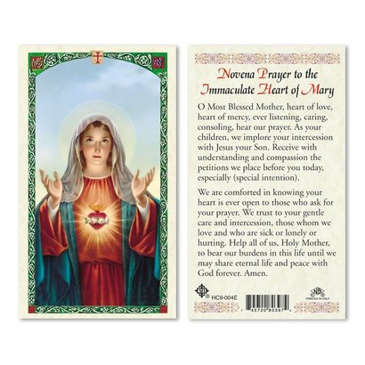 Novena Prayer to Immaculate Heart Holy Card