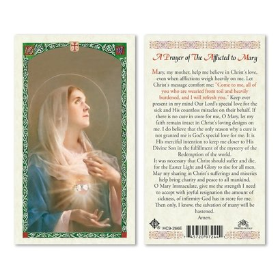 Mary Afflicted, Prayer to - Holy Card