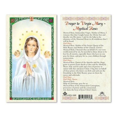 Prayer to Mystical Rose Holy Card