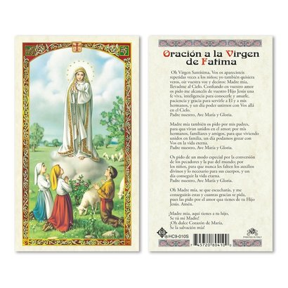 Oracion a la Virgen de Fatima Holy Card
