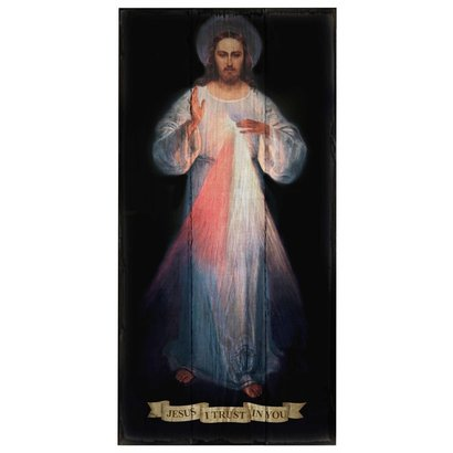 Divine Mercy (Vilnius Original), Rustic Wall Plaque, 8x16
