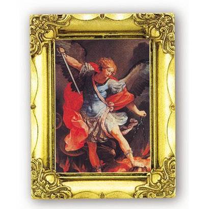 St. Michael, 3.5x4.5, Gold Frame