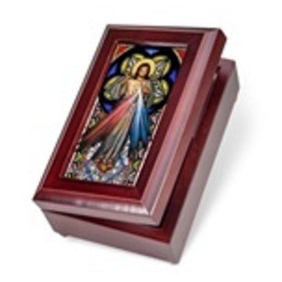 Mahogany Divine Mercy Music Box