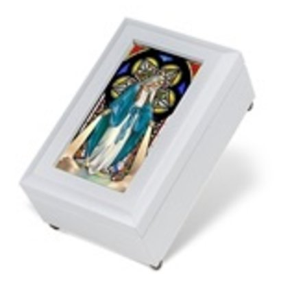 White Our Lady of Grace Music Box