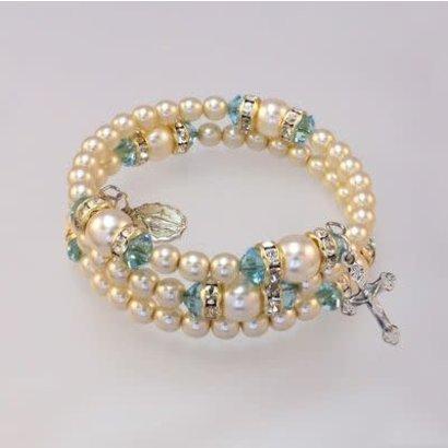Spiral Rosary Bracelet, Aqua