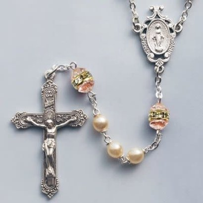 Rosary, Faux Pearl/Rose Zircon