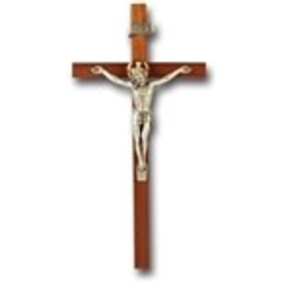 "11"" WALNUT CROSS WITH ANTIQUE SILVER PLATED CORPUS"