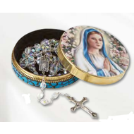 Praying Madonna Rosary Tin