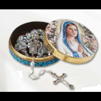 Praying Madonna Rosary Tin