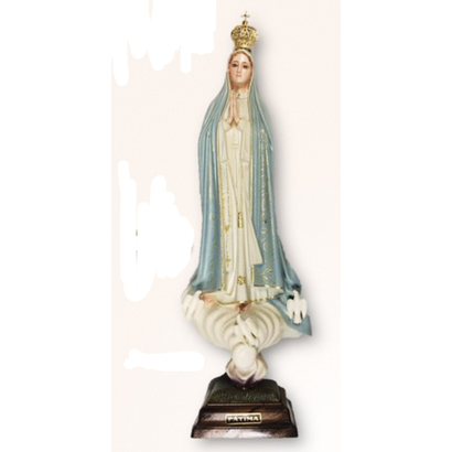 "Our Lady of Fatima 17.5"" Blue & Gold Textured Finish Made in Portugal"