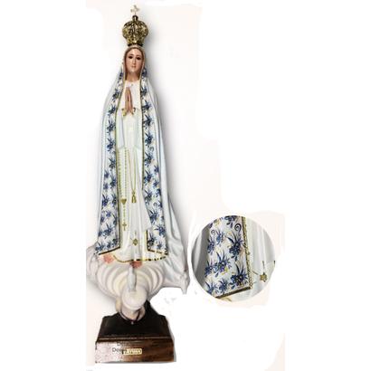 """Our Lady of Fatima 21.5"""" Blue Ornamentation Made in Portugal"""