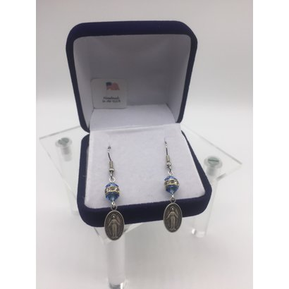 Sapphire Miraculous Medal Earrings