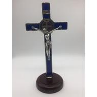 Blue Enamel St. Benedict Crucifix