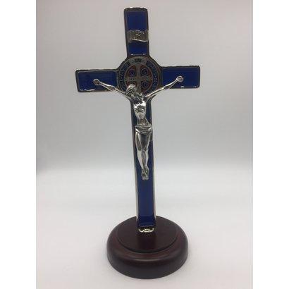 "Blue Enamel  8"" St. Benedict Crucifix"