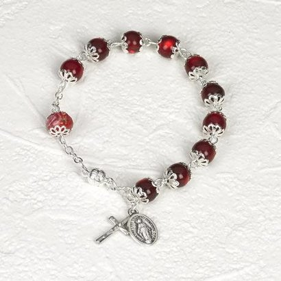Genuine Crystal with Rose Rosary Bracelet