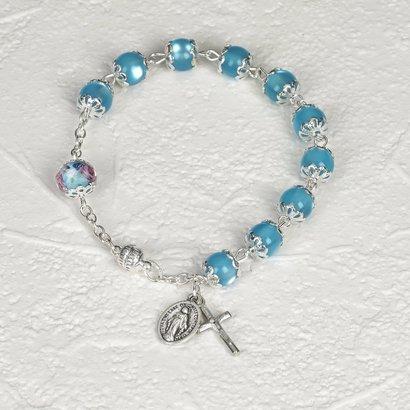 Genuine Crystal with Rose Rosary Bracelet