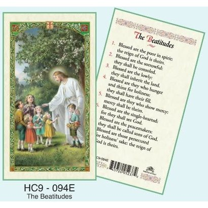 The Beatitudes, Laminated Holy Card, Printed in Italy