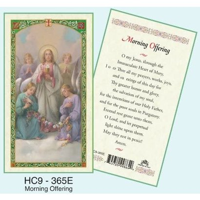Morning Offering, Laminated Holy Card, Printed in Italy