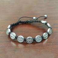 Black St. Benedict Slipknot Bracelet Silver Tone Medals