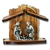 Olive Wood Nativity with Silver-Tone Figurines, Slanted Roof