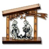 Olive Wood Nativity with Silver-Tone Figurines, Flat Roof