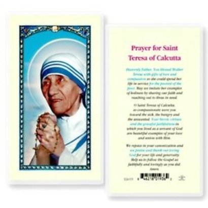 Prayer for Saint Teresa of Calcutta Laminated Holy Card, Printed in Italy