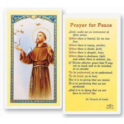 Prayer For Peace Laminated Holy Card, Printed in Italy