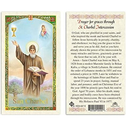 Prayer for Graces through Saint Charbel Intercession Laminated Holy Card, Printed in Italy
