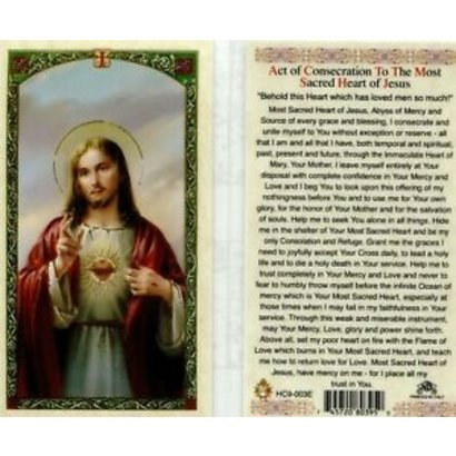 Act of Contrition to the Most Sacred heart of Jesus Laminated Holy Card, Printed in Italy