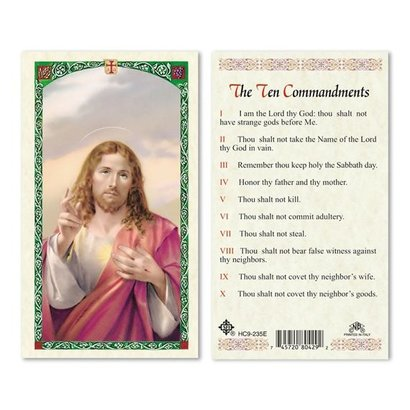The Ten Commandments Laminated Holy Card, Printed in Italy