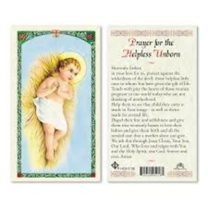 Prayer for the Helpless Unborn Laminated Holy Card, Printed in Italy
