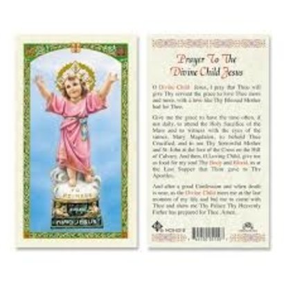 Prayer to the Divine Child Jesus Laminated Holy Card, Printed in Italy