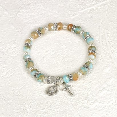 Turquoise Imitation Stone with Strass crystals stretch bracelet with Miraculous Medal and Crucifix