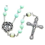 Light Blue Bead Rosary with white Our Father Beads