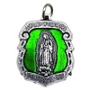 Silver-tone Lady of Guadalupe Medal with Green Enamel