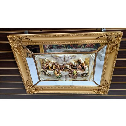 Framed Last Supper Mirror, 21.5x29.5