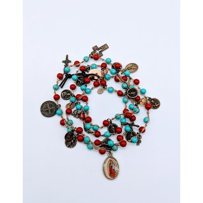 Gemstone Wrap Bracelet, Coral & Turquoise w/ Medals