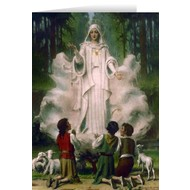 Blank Greeting Card: Our Lady of Fatima in Cloud