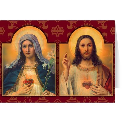 Antique Sacred & Immaculate Hearts Greeting Card