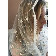White pink and sage embroidered floral  Infinity Veil