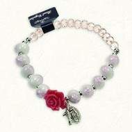 Pink and white Stretch Bracelet with Cristals and Rose Colored and shaped