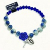 Blue and White Stretch Bracelet w/ Crystals and Blue Rose Shaped Resin Bead
