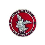 St. Michael Red Enamel Visor Clip