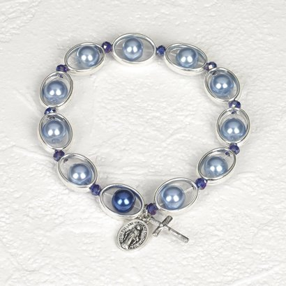 Blue Imitation Pearl & Silver tone Rosary stretch bracelet