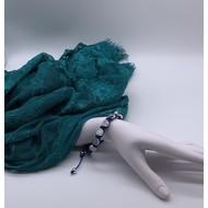 St. Benedict Macramé Slip knot Bracelet Silver Tone Medal- Blue
